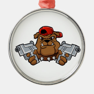 gangster bulldog  with pistols Silver-Colored round decoration