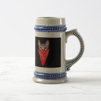 gangster cat - bandana cat - cat gang beer stein