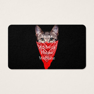 gangster cat - bandana cat - cat gang business card