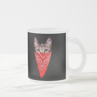 gangster cat - bandana cat - cat gang frosted glass coffee mug