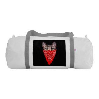 gangster cat - bandana cat - cat gang gym duffel bag