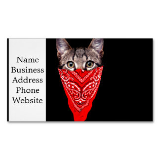 gangster cat - bandana cat - cat gang Magnetic business card