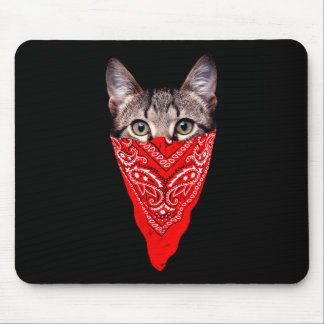 gangster cat - bandana cat - cat gang mouse pad