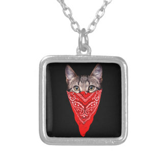 gangster cat - bandana cat - cat gang silver plated necklace