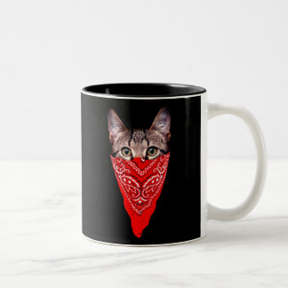 gangster cat - bandana cat - cat gang Two-Tone coffee mug