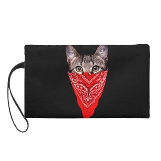 gangster cat - bandana cat - cat gang wristlet