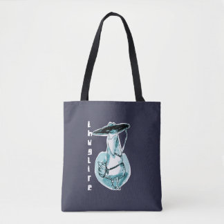 gangster duck cartoon style funny illustration tote bag