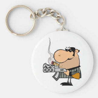 Gangster With Gun And Cigar Basic Round Button Key Ring