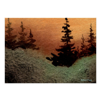 """Gap #1"" Landscape Poster trees pines sunset field"