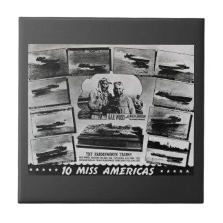 Gar Wood 10 Miss Americas Vintage Race Boats Ceramic Tile