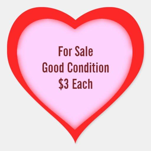 Garage Sale And Yard Sale Price Heart Labels Sticker