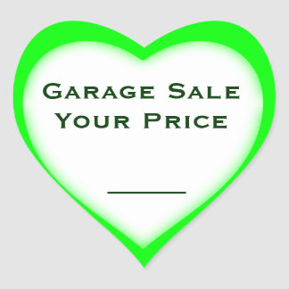 Garage Sale And Yard Sale Price Heart Shape Labels Heart Sticker