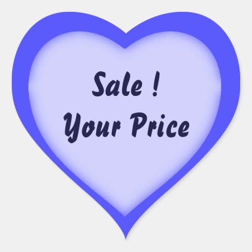 Garage Sale And Yard Sale Price Heart Shape Labels Sticker