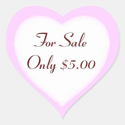 Garage Sale And Yard Sale Price Labels Heart Sticker