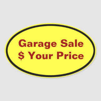 Garage Sale And Yard Sale Price Labels Oval Sticker
