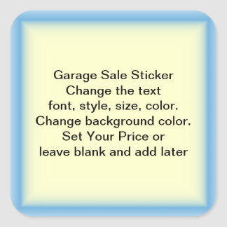 Garage Sale And Yard Sale Price Labels Square Sticker