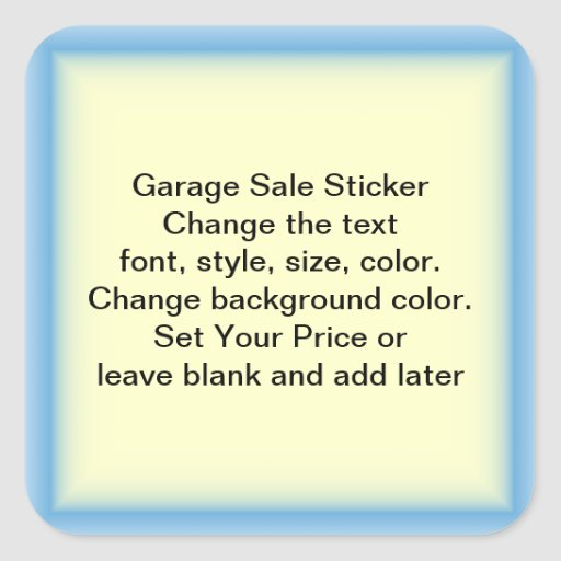 Garage Sale And Yard Sale Price Labels Square Stickers