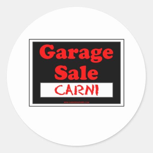 Garage Sale Carni Round Stickers