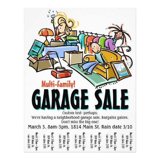 garage sale moving sale yard sale custom flyer zazzle. Black Bedroom Furniture Sets. Home Design Ideas