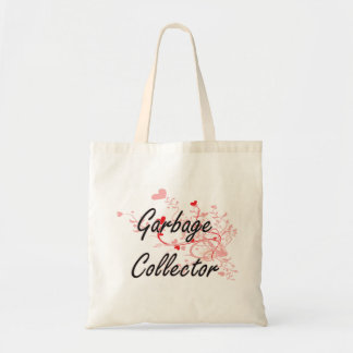 Garbage Collector Artistic Job Design with Hearts Budget Tote Bag