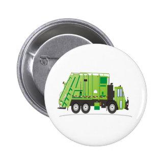 Garbage Truck Green 6 Cm Round Badge