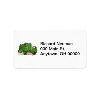 Garbage Truck Green Address Label