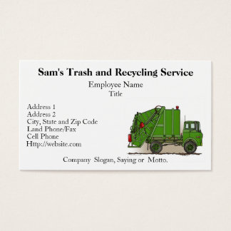 Garbage recycling business cards business card printing zazzle garbage truck green business card reheart Choice Image