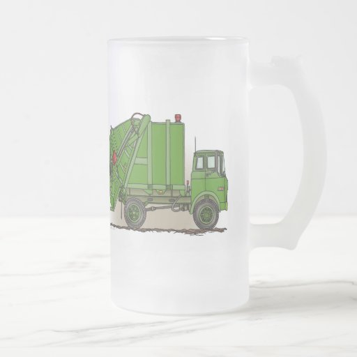 Garbage Truck Green Glass Mug