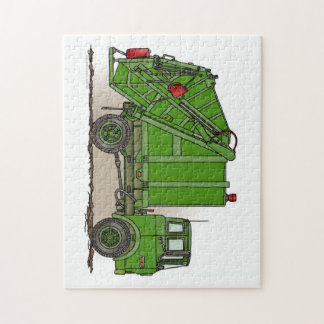 Garbage Truck Green Jigsaw Puzzle