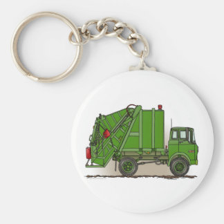 Garbage Truck Green Key Chain