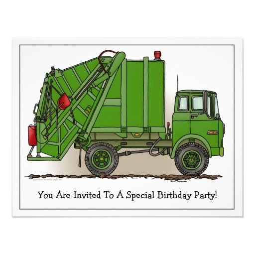 Garbage Truck Green Kids Party Invitation