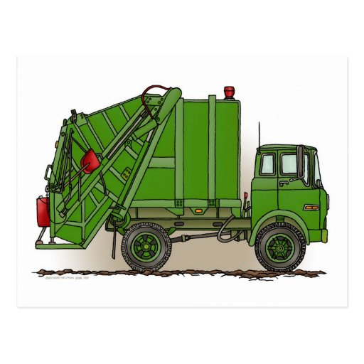 Garbage Truck Green Post Card