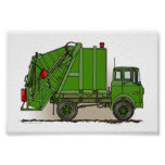 Garbage Truck Green Posters