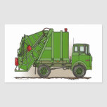 Garbage Truck Green Rectangle Sticker