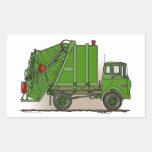 Garbage Truck Green Rectangular Sticker