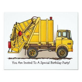 Garbage Truck Yellow  Kids Party Invitation