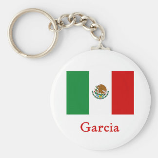 Garcia Mexican Flag Basic Round Button Key Ring