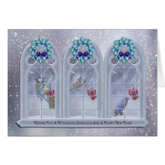 Garden Birds Christmas Window Greeting Card