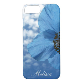 Garden Blue Poppy Flower Blue Sky with Monogram iPhone 8/7 Case