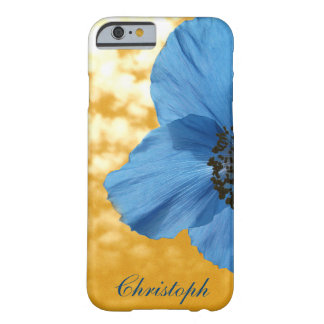 Garden Blue Poppy Flower Golden Sky with Monogram Barely There iPhone 6 Case
