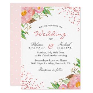 Garden Botanical Floral Polka Dots Chic Wedding Card