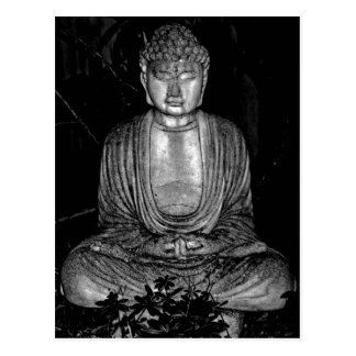 Garden Buddha - black and white photo Postcard