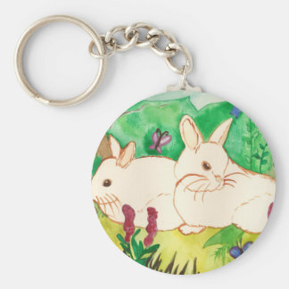 Garden Bunnies Key Ring Basic Round Button Key Ring