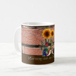 Garden by brick wall coffee mug