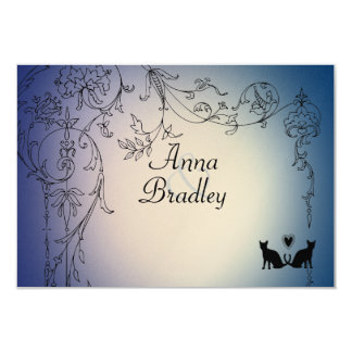 Garden Cats RSVP with envelopes 9 Cm X 13 Cm Invitation Card