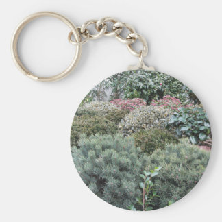 Garden centre with selection of nursery plants key ring