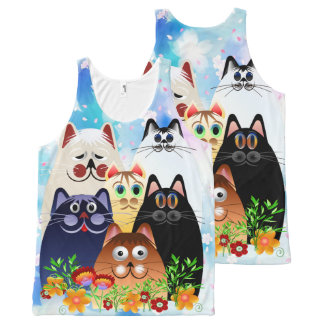 GARDEN CLOWDER of CATS All-Over Print Singlet
