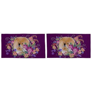 GARDEN DANCE CHOW - KING pillowcase eggplant