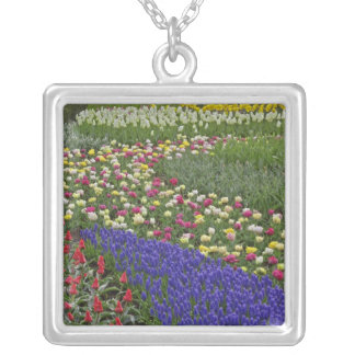 Garden design of Grape Hyacinth, and tulips, Square Pendant Necklace