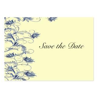 Garden Essence Blue Cream Yellow Save The Date Business Card Templates